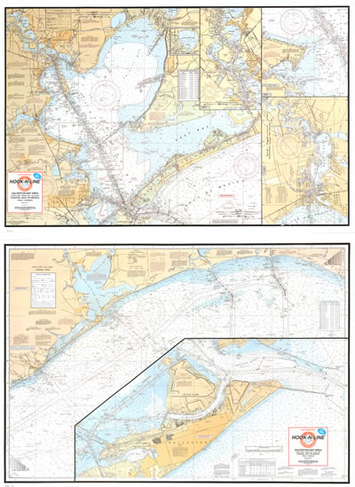 Galveston Bay Boater's Map with GPS