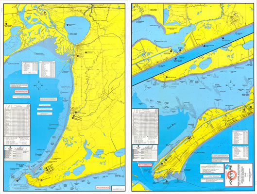 Wader's Fishing Map of East Galveston Bay w/GPS