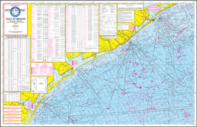 Gulf of Mexico Offshore Fishing Map with Loran & GPS