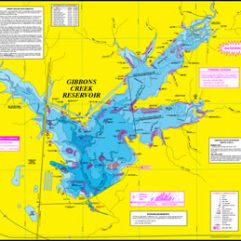 Gibbons Creek Reservior Fishing Map w/GPS
